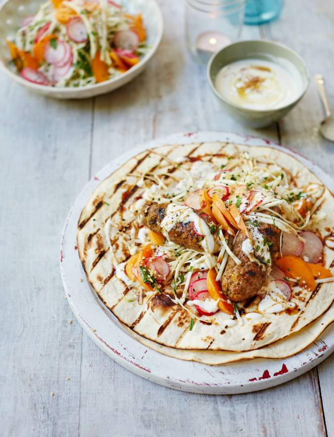 Recipe: Pork and pistachio koftas with fennel, radish and apricot slaw