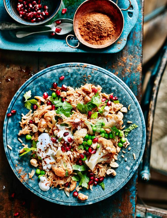 Recipe: Spiced cauliflower, pea and cashew pilaf