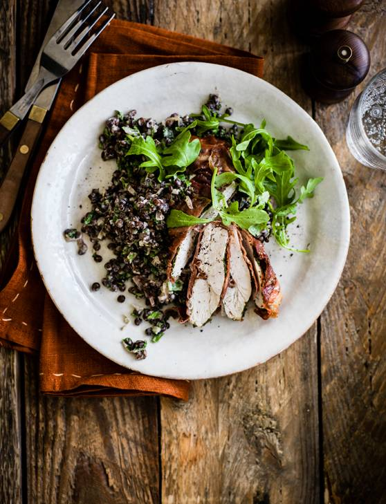 Recipe: Parma ham-wrapped chicken with creamy lentils