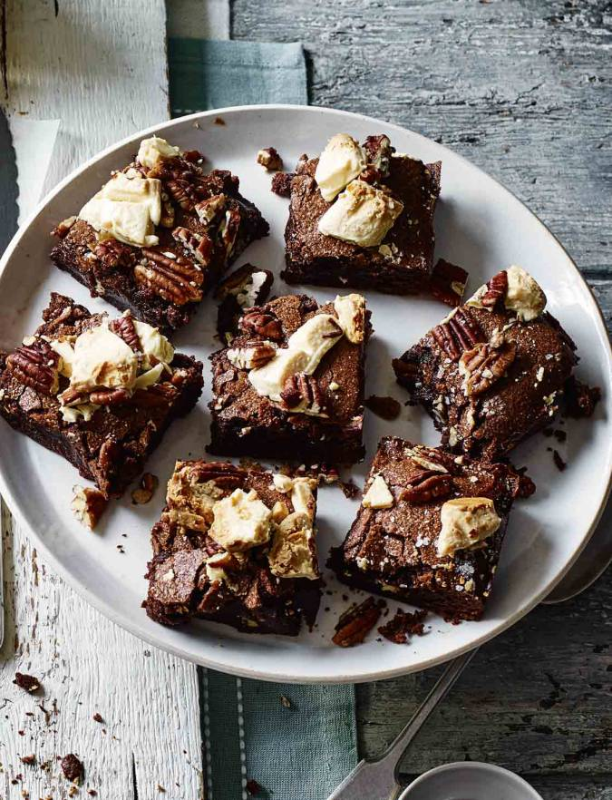 Recipe: Salted pecan and white chocolate brownies