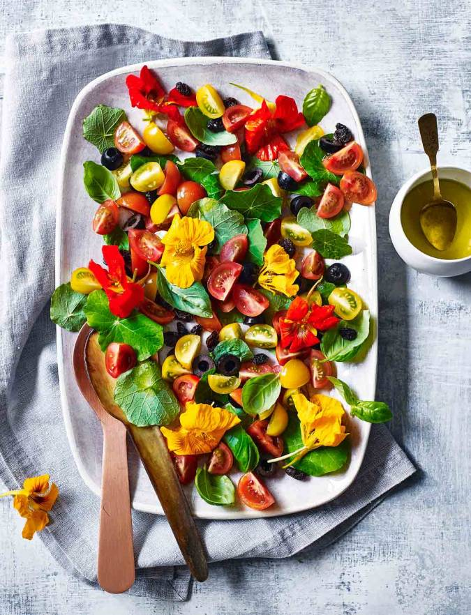 Recipe: Tomato and nasturtium salad with elderflower dressing