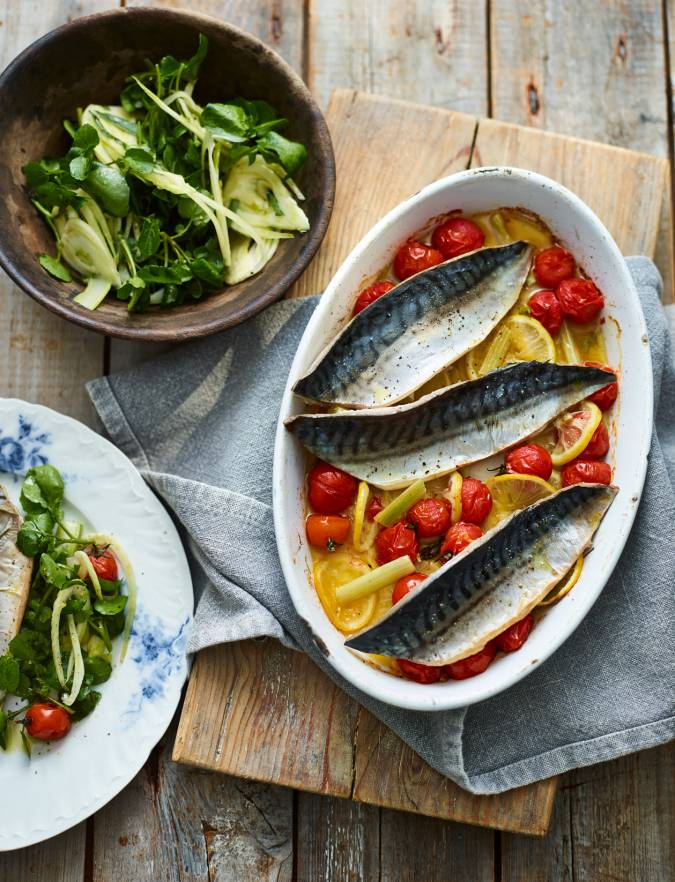Recipe: Pernod-baked mackerel with fennel and watercress