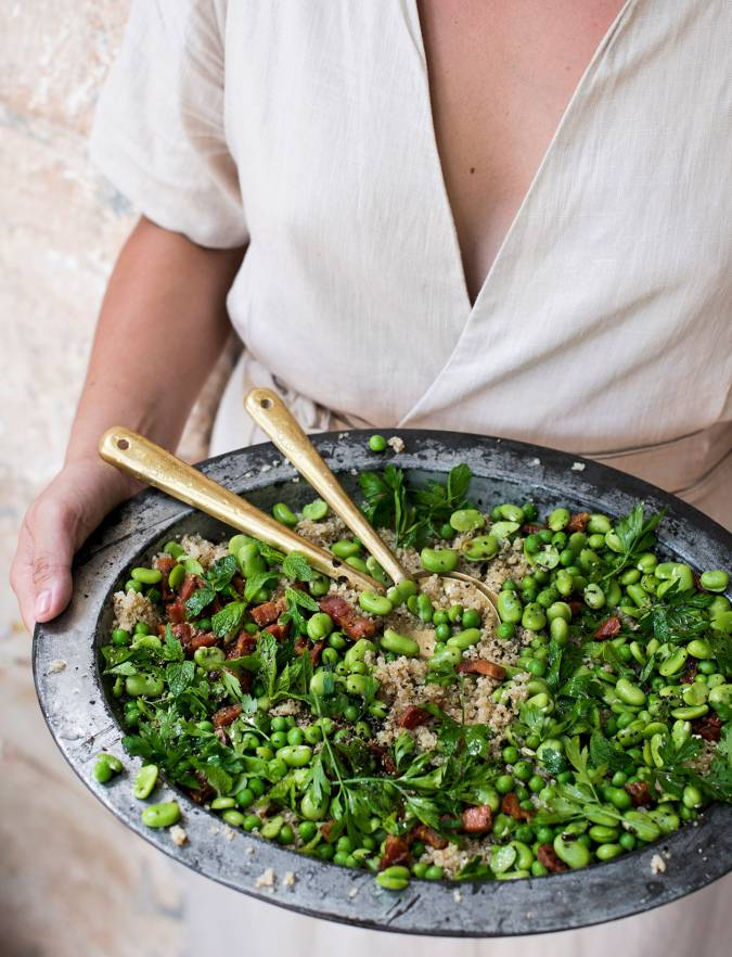 Recipe: Quinoa salad with pancetta, broad beans and peas