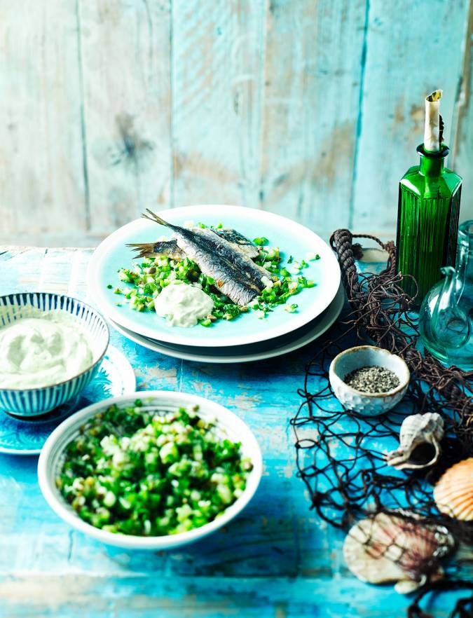 Recipe: Sardines with cucumber salsa verde salad and garlic mayonnaise