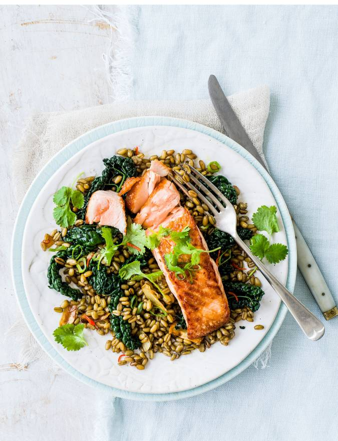 Recipe: Crispy salmon with freekeh and cavolo nero