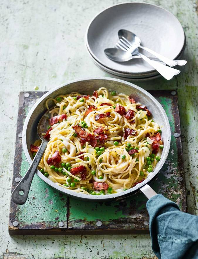Recipe: One-pot pasta with bacon and peas
