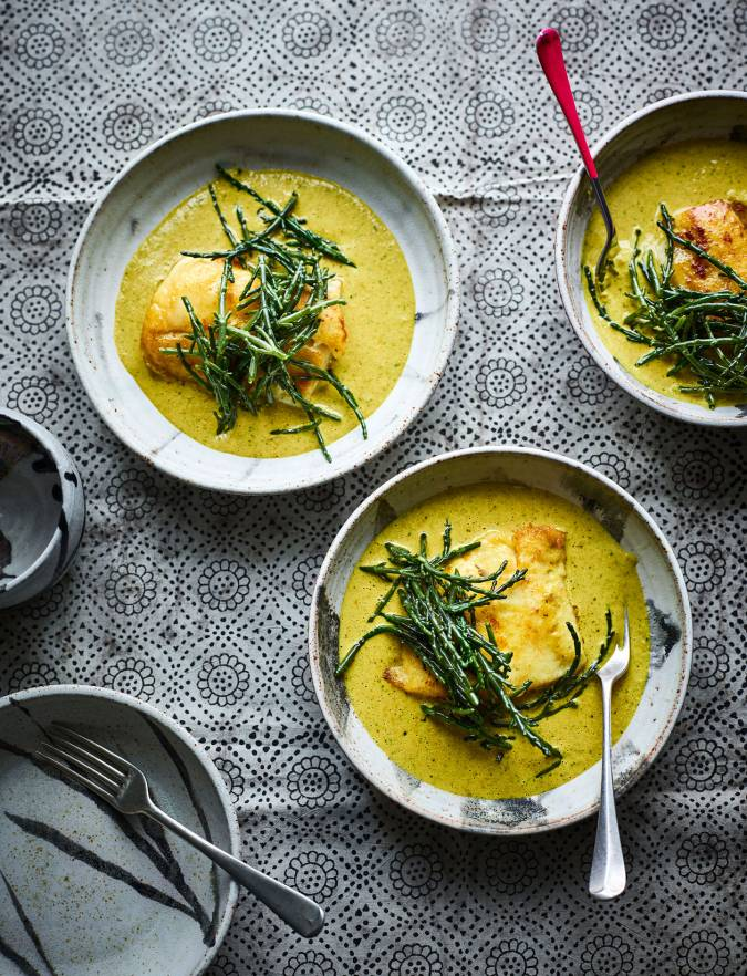 Recipe: Hake with samphire and malai sauce