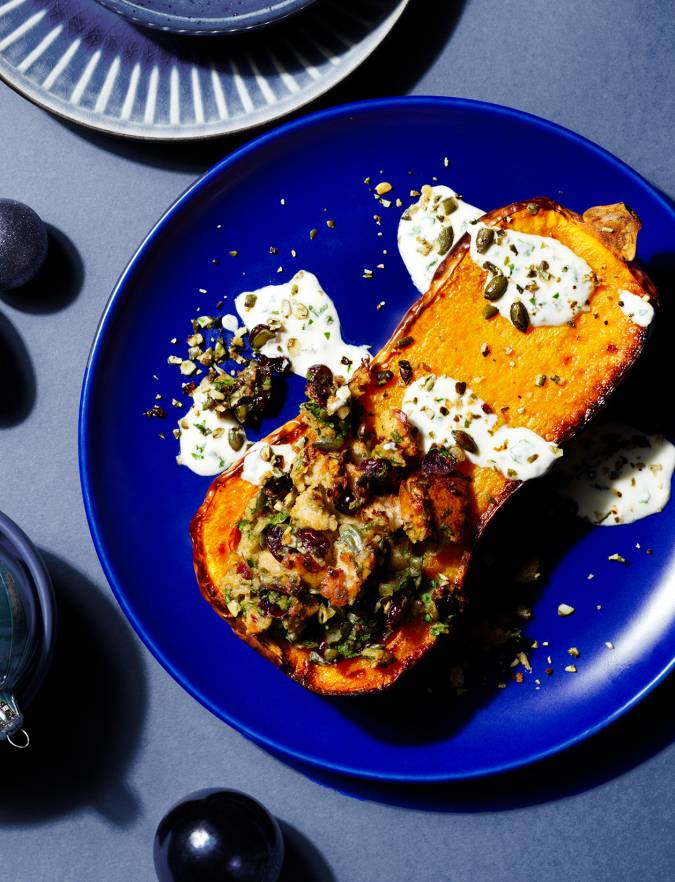 Recipe: Roast squash with pumpkin seed and cranberry stuffing