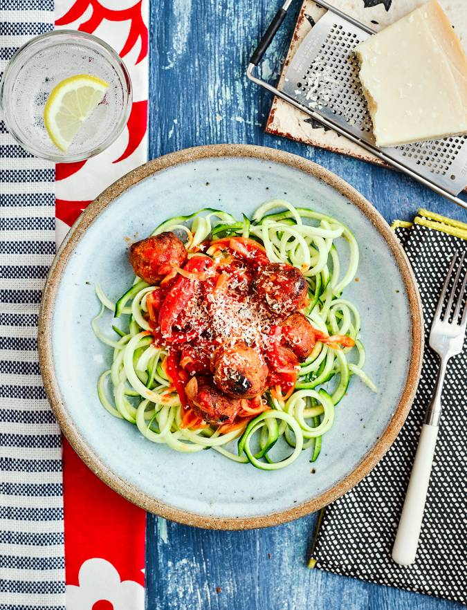Recipe: Smoky pork meatballs with courgetti