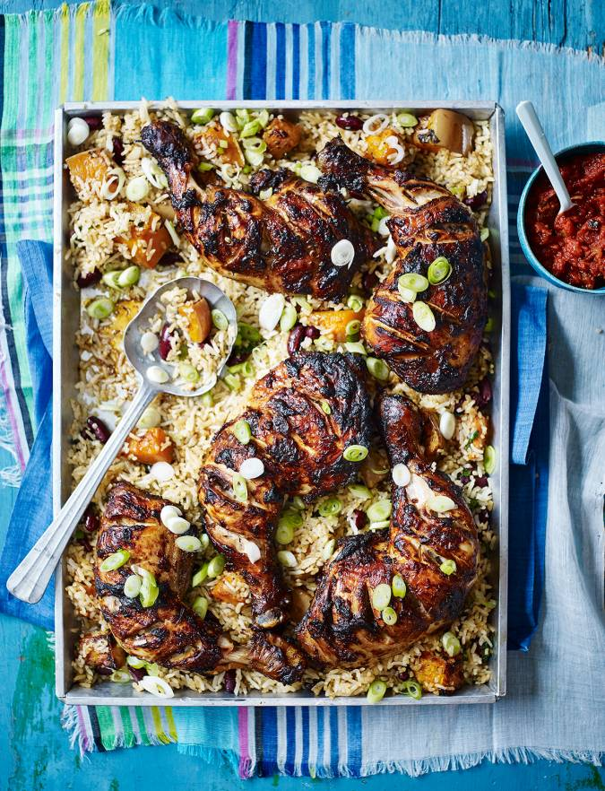 Recipe: Mexican chicken with roast squash rice and smoky tomato relish