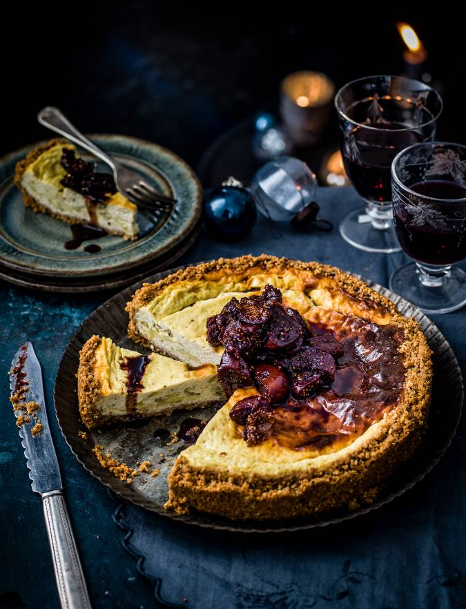 Recipe: Stilton cheesecake with sticky port figs
