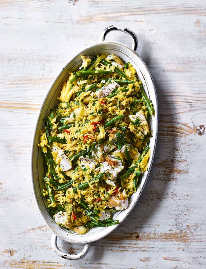 Recipe: Fragrant hake, lime and coconut pilaf