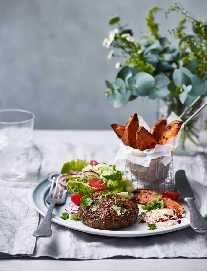 Recipe: Spicy lamb patties and sweet potato wedges