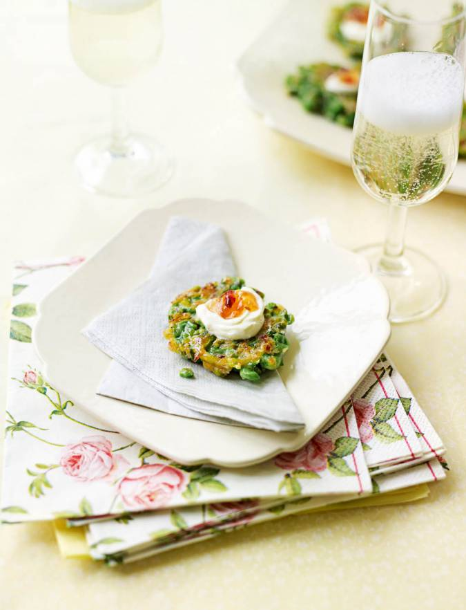 Recipe: Pea and mint fritters with smoked chilli jelly