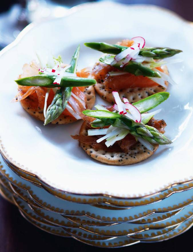 Recipe: Gin-cured salmon and asparagus slaw bites