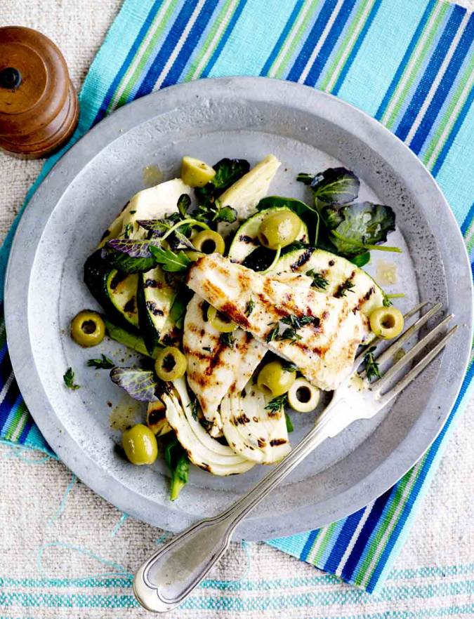 Recipe: Griddled chicken with warm courgette and fennel salad