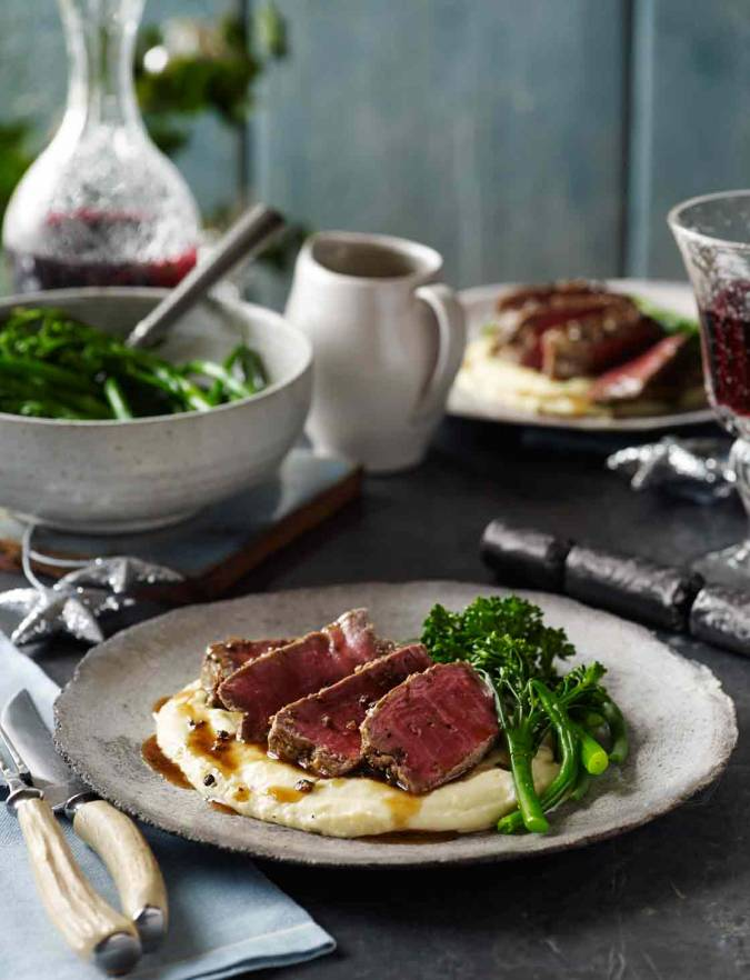 Recipe: Three-pepper steaks with pommes mousseline