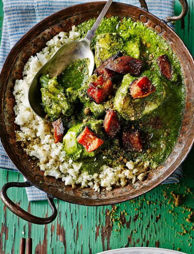 Recipe: Fish and spinach curry with cauliflower 'rice' and pistachios
