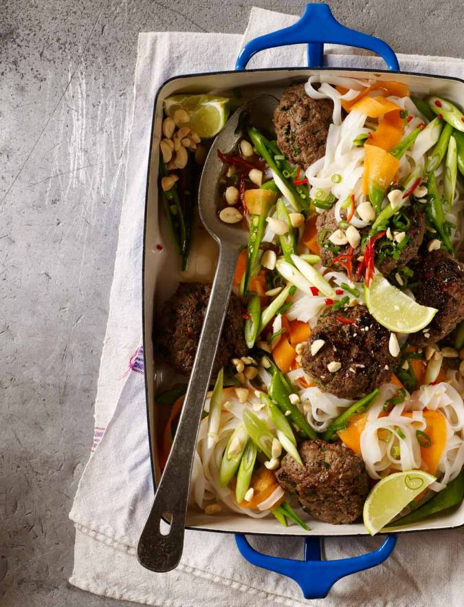 Recipe: Massaman beef patties with noodles, lime and peanuts