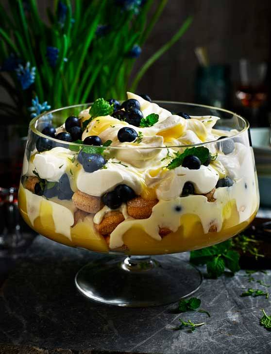 Recipe: Blueberry, lemon and mint trifle