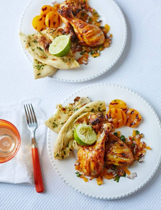 Recipe: Tandoori chicken drumsticks with salsa and griddled apricots