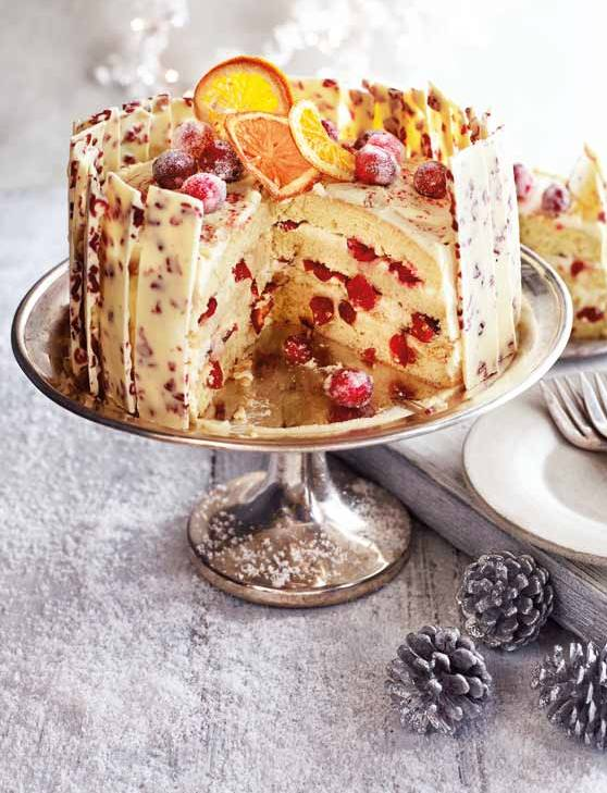 Recipe: Orange, cranberry and white chocolate gateau