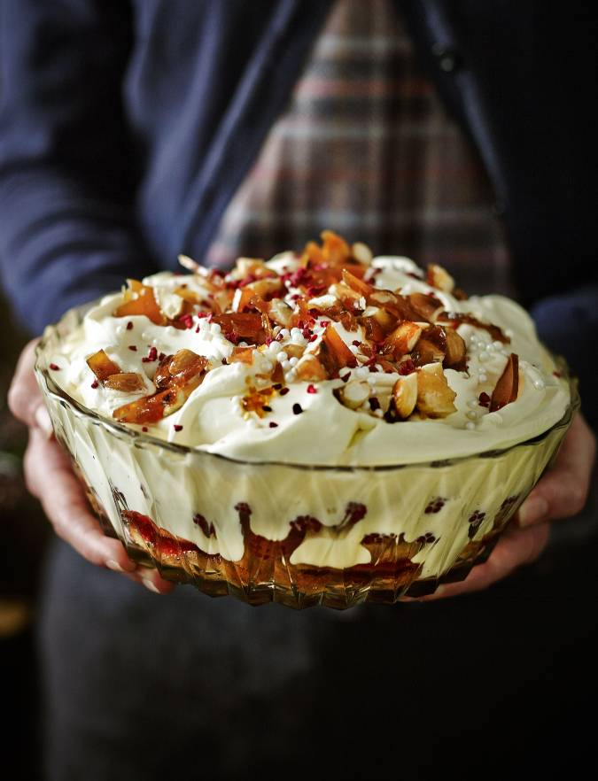 Recipe: Raspberry and Amaretto trifle with salted caramelised almonds