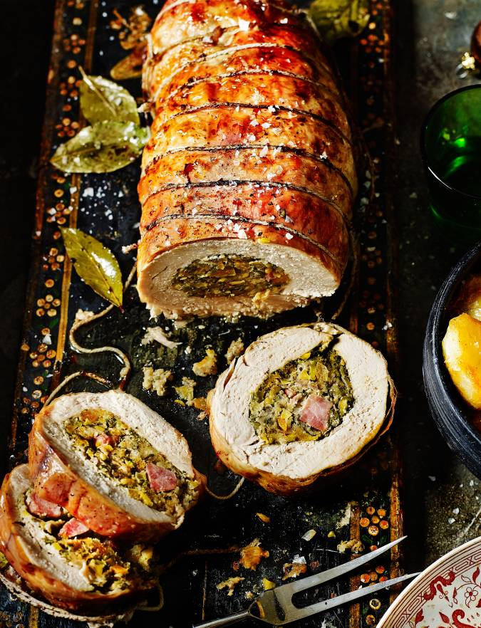 Recipe: Roast turkey breast with apricot, gammon and pistachio stuffing