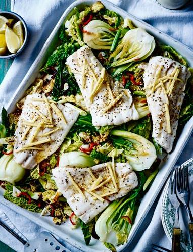 Recipe: Sizzling haddock with greens and sesame seeds