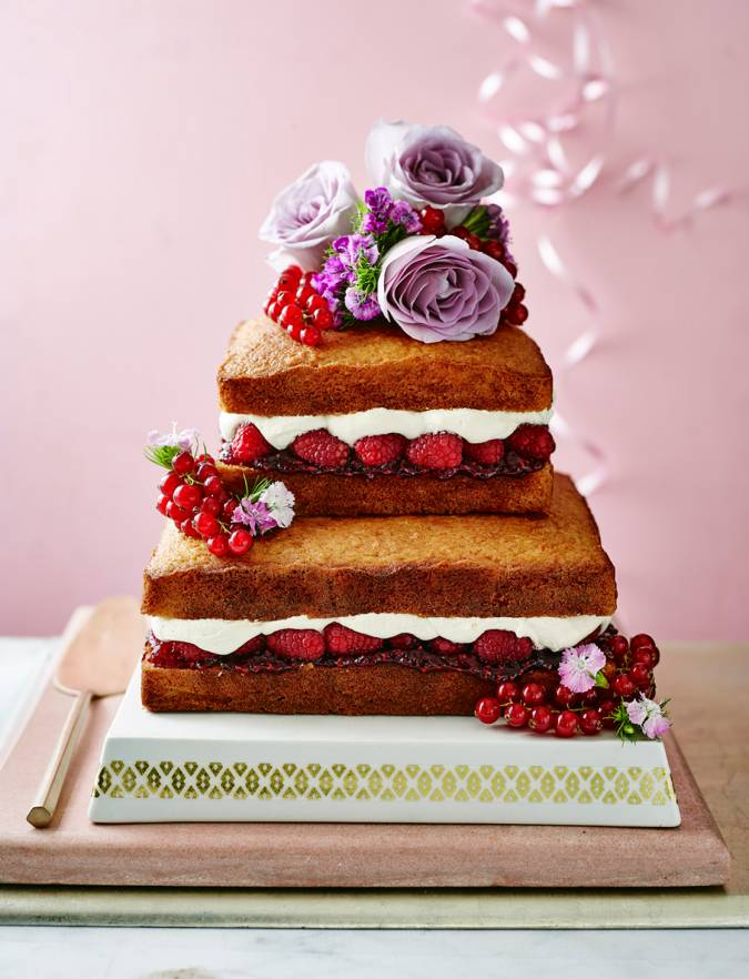 Recipe: Naked citrus, raspberry and coconut celebration cake