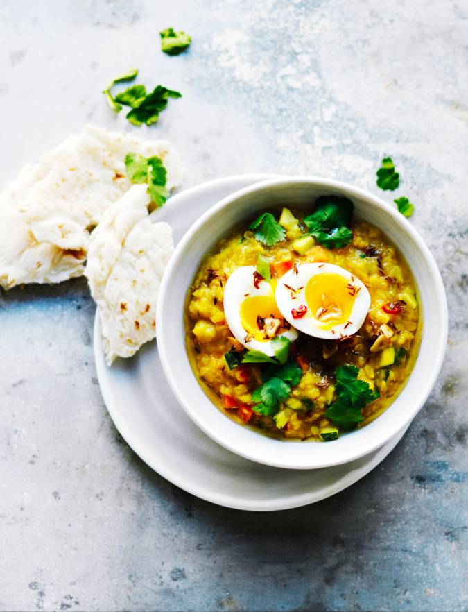 Recipe: Golden vegetable dhal with soft-boiled eggs
