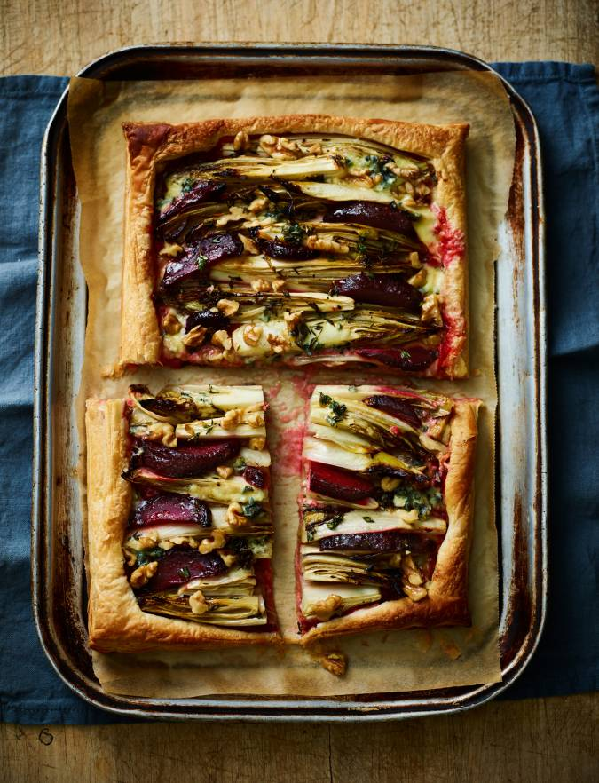 Recipe: Beetroot, chicory and blue cheese tart
