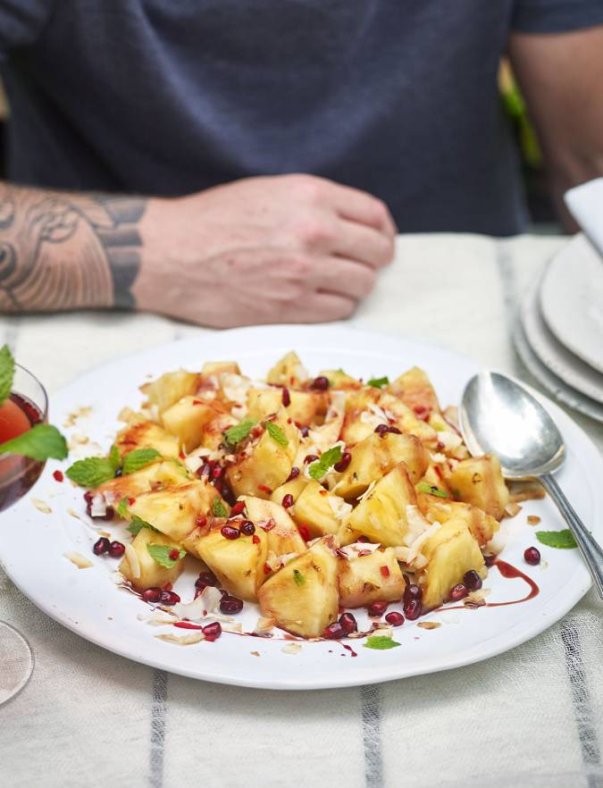 Recipe: Pineapple, coconut, mint and pomegranate salad