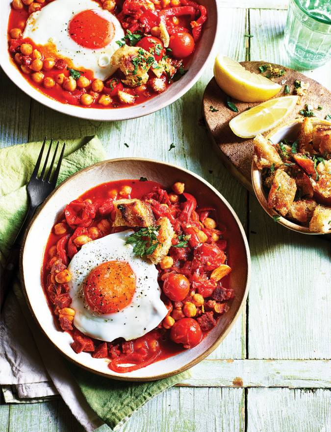 Recipe: Spanish chickpea and chorizo stew with fried eggs