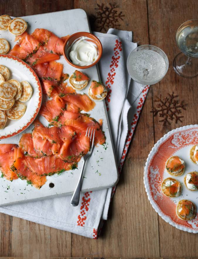 Recipe: Gravadlax salmon starter with blinis