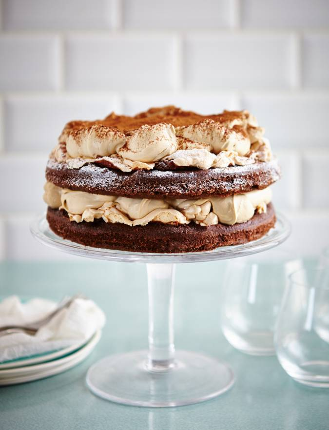 Recipe: Chocolate sponge and meringue layer cake