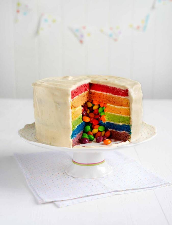 Surprise Skittles Rainbow Cake Sainsbury S Magazine