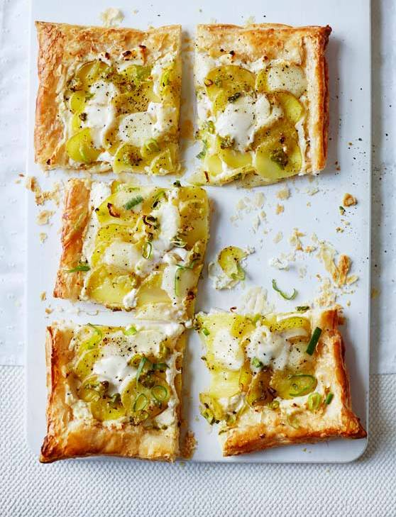 Recipe: Potato, mozzarella and spring onion tart