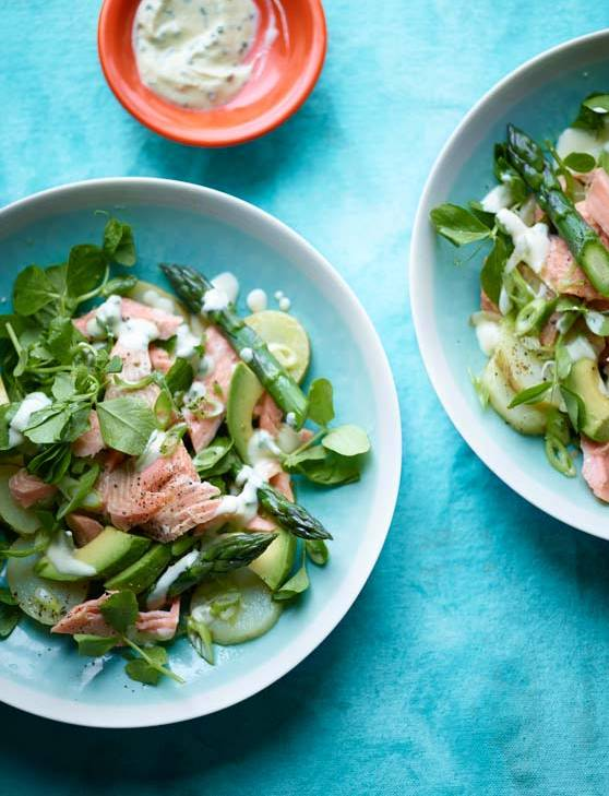Recipe: Hot smoked trout, new potato and pea shoot salad