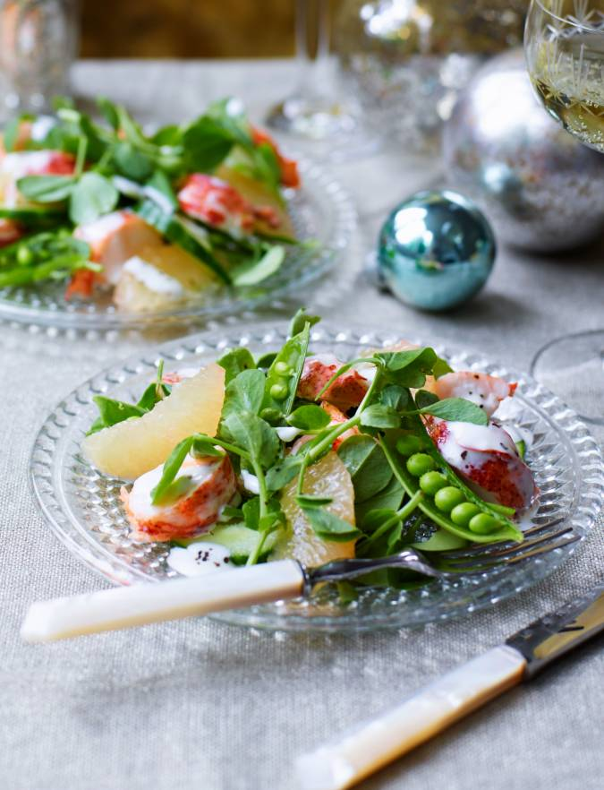 Recipe: Lobster, grapefruit and pea shoot salad