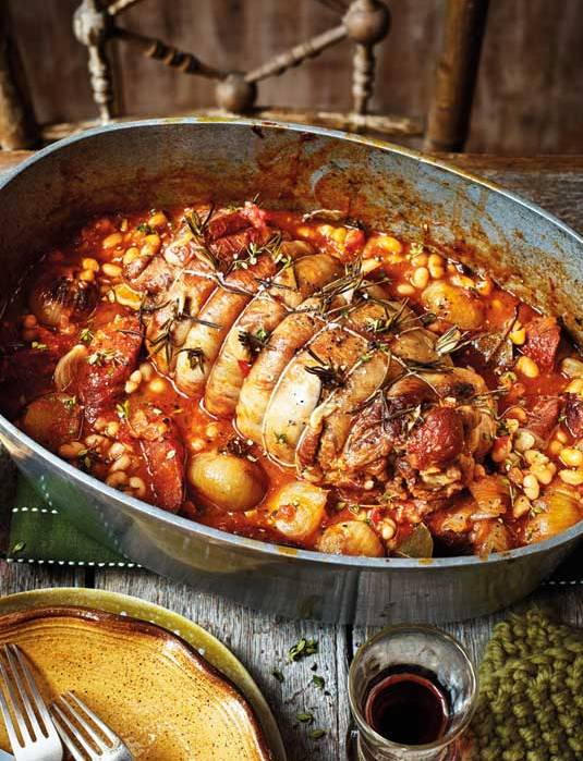 Recipe: Spanish pot-roasted lamb with chorizo and white beans