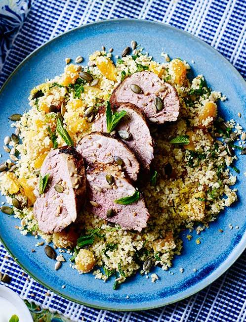 Recipe: Cinnamon-lemon pork with apricot couscous