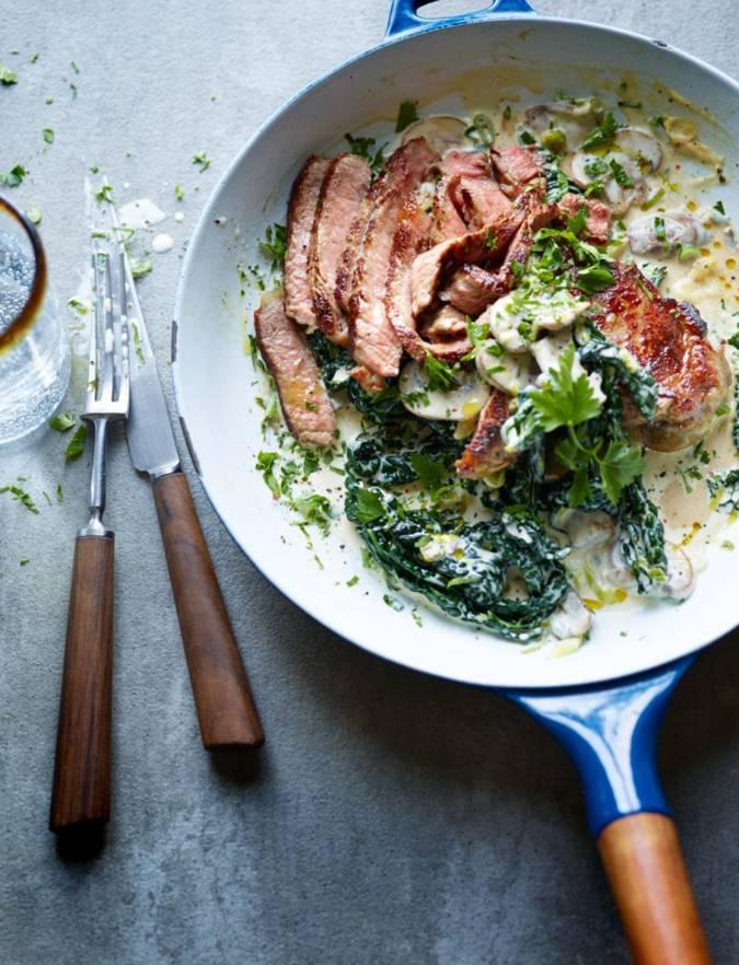 steak with creamy cavolo nero and mushrooms | sainsbury's magazine