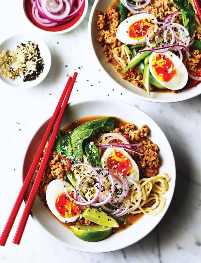 Spicy sesame pork noodle soup
