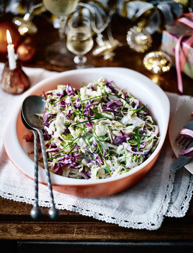 Recipe: Colourful three-cabbage slaw with lemon buttermilk dressing