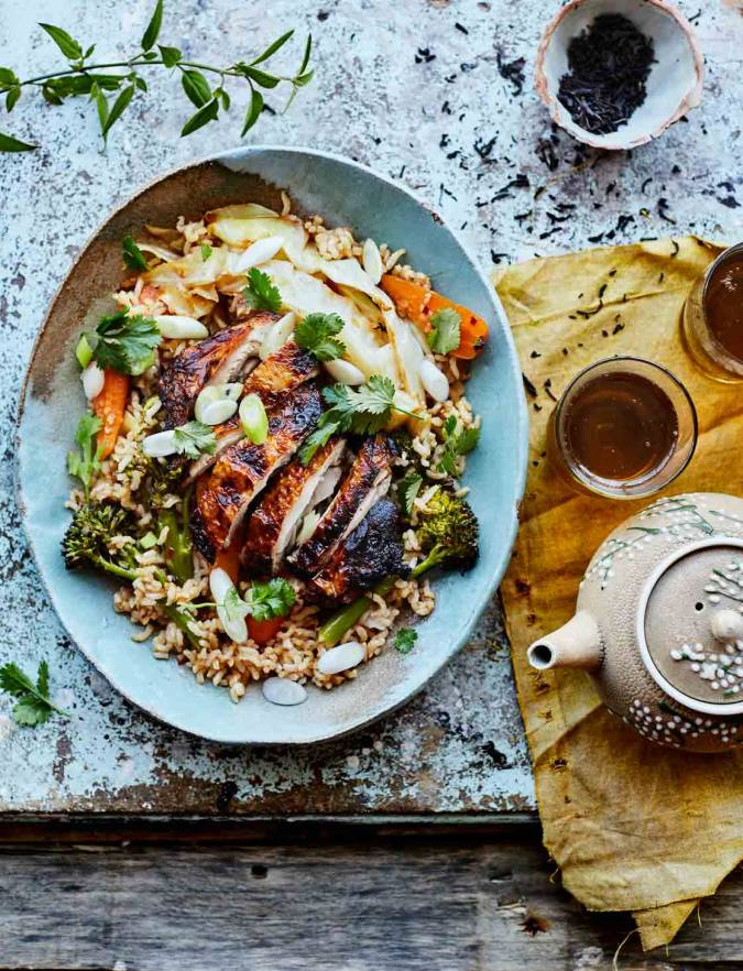 Recipe: Crispy tea-brined chicken with warm rice salad