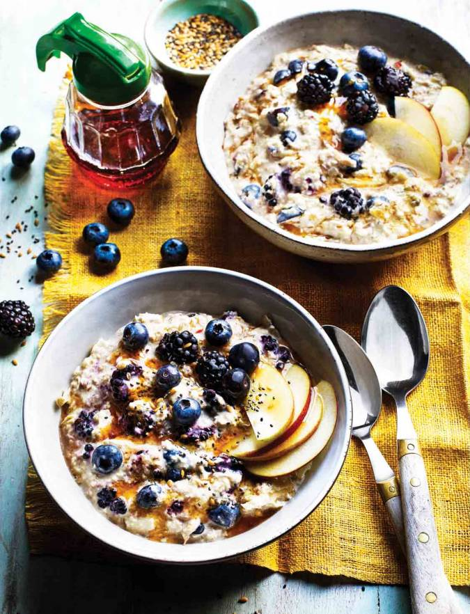 Recipe: Apple, blackberry and blueberry bircher muesli