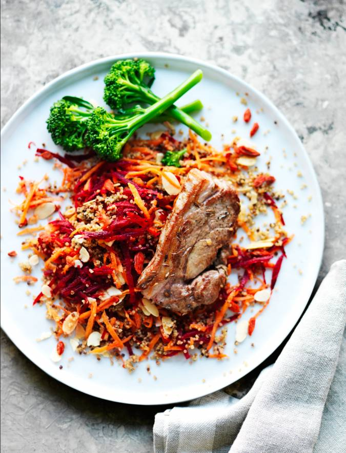Recipe: Lamb steaks with beetroot, carrot and almond quinoa salad