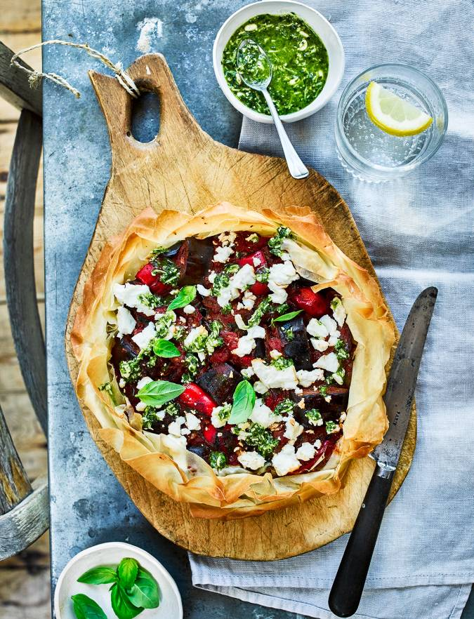 Recipe: Aubergine, feta and pesto pie