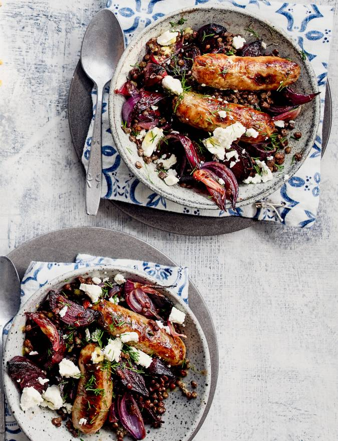 Recipe: Sausages with mustardy lentils, beetroot and feta